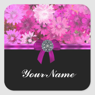 Pink floral personalized square stickers