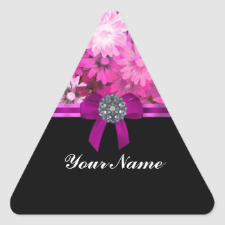 Pink floral personalized triangle sticker