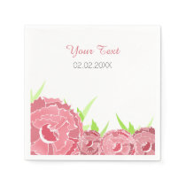 pink floral personalized wedding napkins