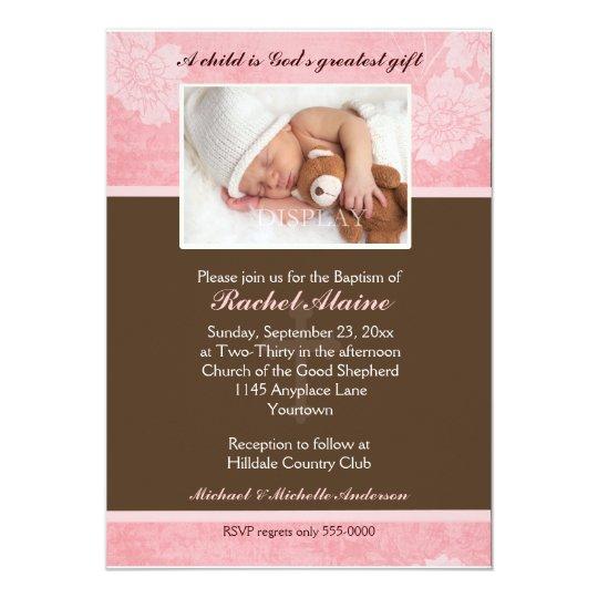 Pink Floral Photo Baptism Invitation