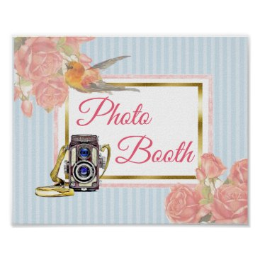 Wedding Themed Pink Floral Photo Booth Wedding Sign Poster