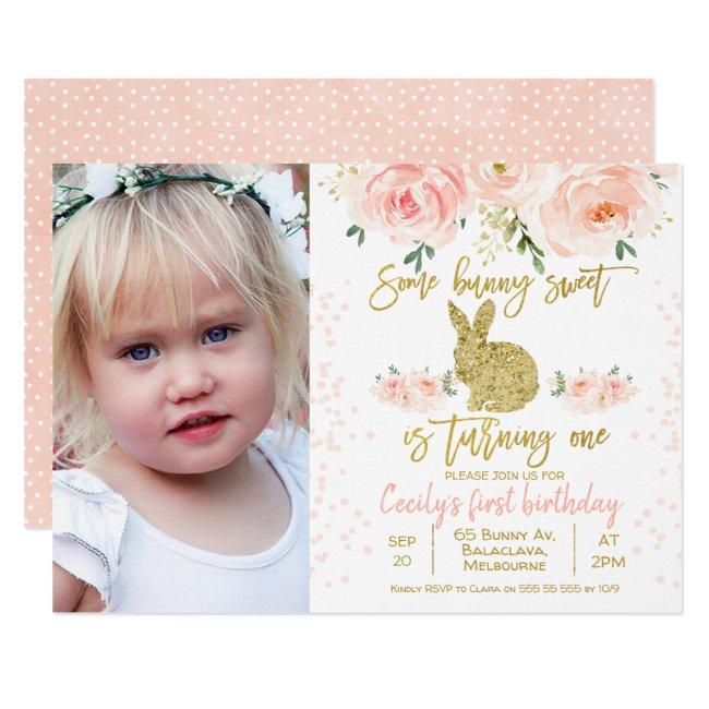 Pink floral photo bunny 1st Birthday Invitation