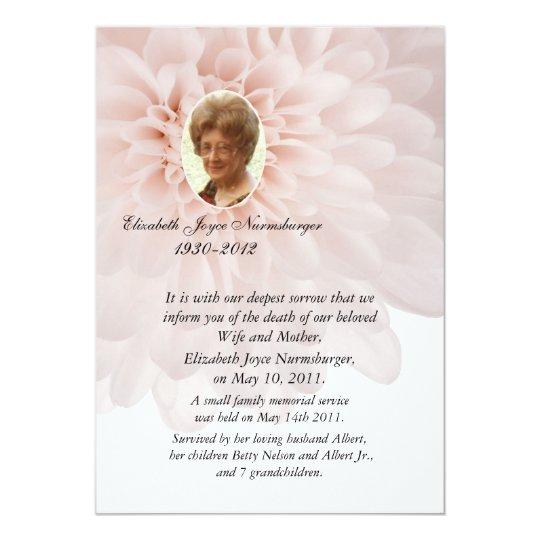 Pink Floral Photo Death Announcement Card