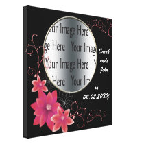 pink floral photo frame photo template canvas print