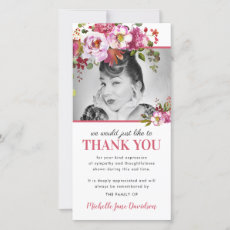 Pink Floral Photo Funeral Thank You