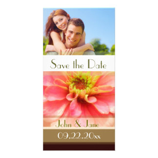 """Pink Floral  /photo  """"Save the Date"""" Card"""