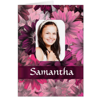 Pink floral photo template card
