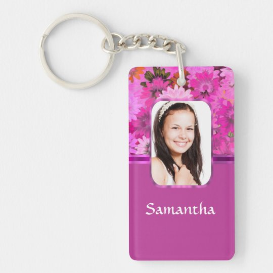 Pink floral photo template keychain