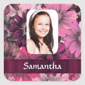 Pink floral photo template square sticker