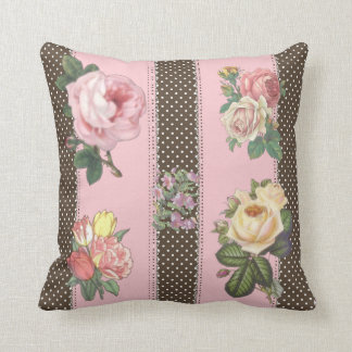 Pink Floral Polka Dot Reversible Decorative Pillow