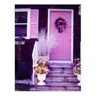 Pink floral porch door Postcard