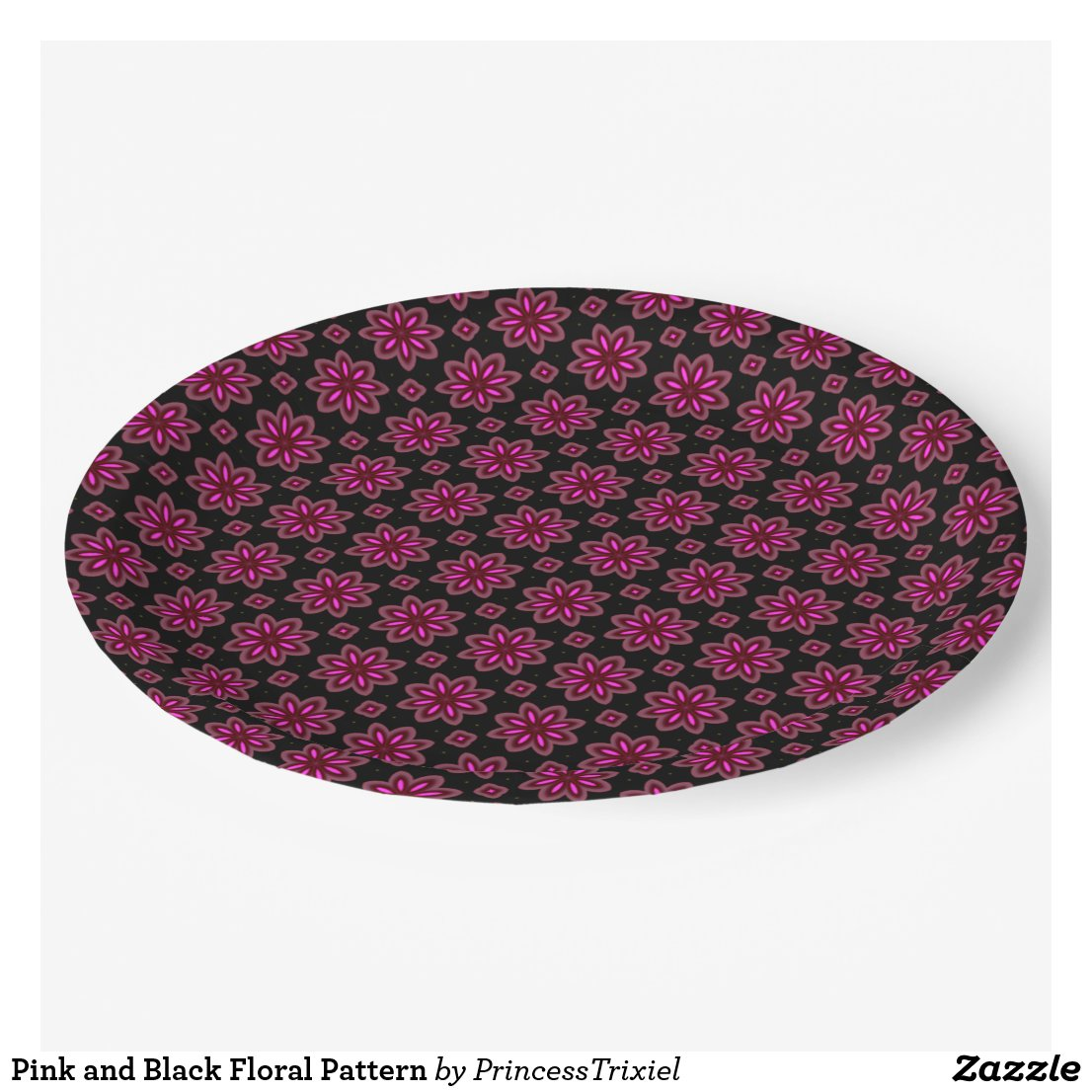 Pink Floral Print Paper Plate