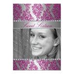 Pink Floral Print Photo Sweet 16 Birthday invite