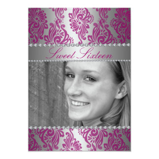 Pink Floral Print Photo Sweet 16 Birthday invite
