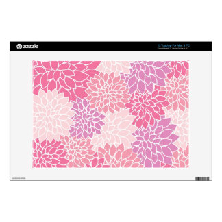 Pink Floral Printed Laptop Skin / Fits Macbook 13""