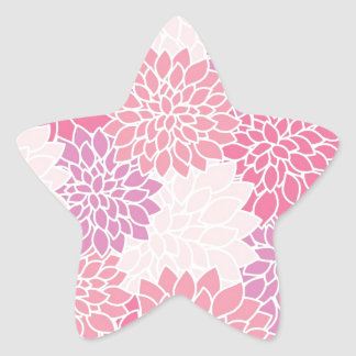 Pink Floral Printed Star Sticker