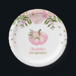 """Pink Floral Pumpkin 1st First Birthday 7&quot; Plate<br><div class=""""desc"""">Feminine pumpkin theme paper plate Matching items available in our store!</div>"""