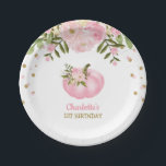 "Pink Floral Pumpkin 1st First Birthday 7"" Plate<br><div class=""desc"">Feminine pumpkin theme paper plate