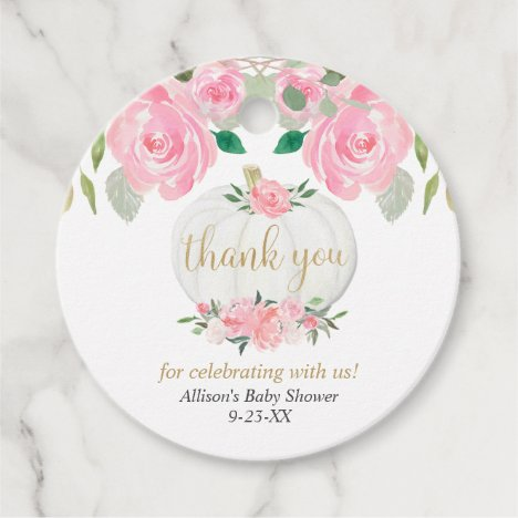 Pink floral pumpkin gold white baby shower favor tags