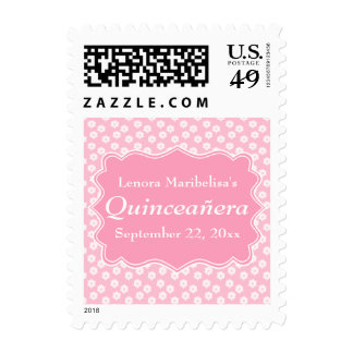 Pink Floral Quinceanera Postage Stamps