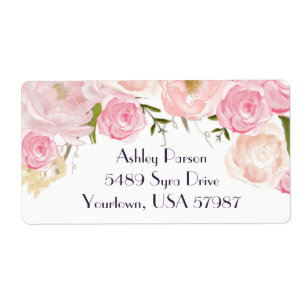 pink floral return address label