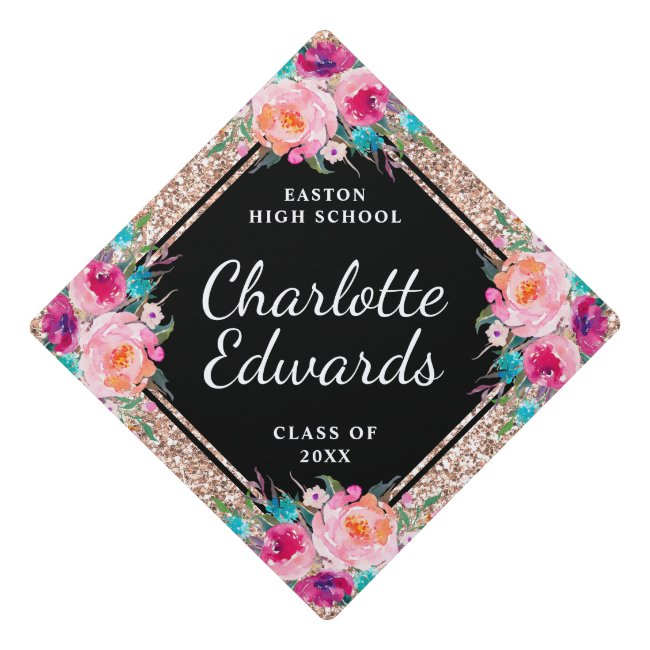 Pink Floral Rose Gold Glitter Name Year School Graduation Cap Topper
