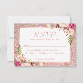 Pink Floral Rose Gold Glitter RSVP Meal Choice
