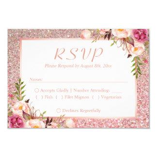 Pink Floral Rose Gold Glitter RSVP Meal Choice Card