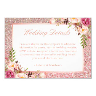 Pink Floral Rose Gold Glitter Wedding Details Info Card
