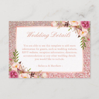 Pink Floral Rose Gold Glitter Wedding Details Info Enclosure Card