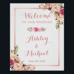 "Pink Floral Rose Gold Wedding Welcome Sign<br><div class=""desc"">Create your own Wedding Sign with this &quot;Pink Floral Rose Gold Wedding Welcome Poster&quot; template to match your wedding colors and style. This high-quality design is easy to customize to be uniquely yours! (1) The default size is 8 x 10 inches, you can change it to any size. (2) For...</div>"