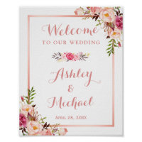 Pink Floral Rose Gold Wedding Welcome Sign