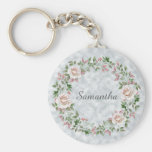 Pink Floral Rose Wreath and Leaves on Light Blue Keychain