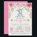 """Pink Floral Roses Elephant Baby Shower Invitation<br><div class=""""desc"""">Cute &amp; girly baby shower invitation featuring an adorable watercolor elephant surrounded with blush pink flowers and green leaves</div>"""