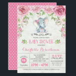 "Pink Floral Roses Elephant Baby Shower Invitation<br><div class=""desc"">Cute &amp; girly baby shower invitation featuring an adorable watercolor elephant surrounded with blush pink flowers and green leaves</div>"