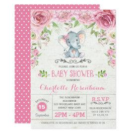 Pink Floral Roses Elephant Baby Shower Invitation