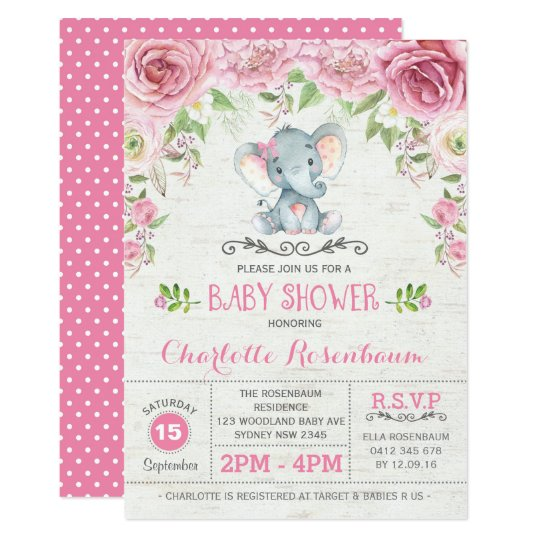 Pink Fl Roses Elephant Baby Shower Invitation