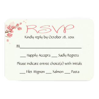 Pink Floral RSVP Cherry Blossoms Flowers Wedding Card