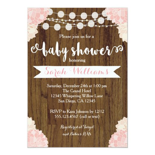 Pink Floral Rustic Baby Shower Invitation