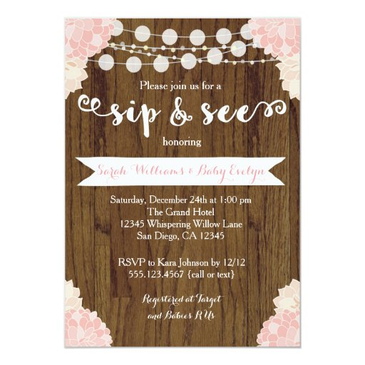 Pink Floral Rustic Sip and See Invitation