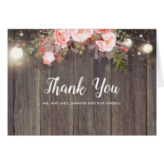 Pink Floral Rustic Wedding Thank You Card