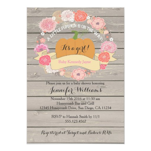 Pink Floral Rustic Wood Baby Shower Invitations