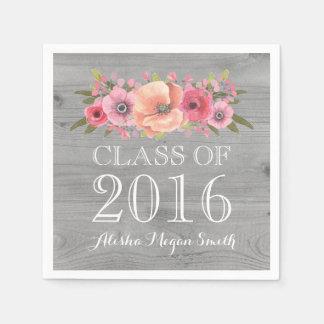 Pink Floral Rustic Wood Class of 2016 Graduation Paper Napkin
