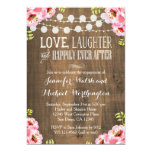 Pink Floral Rustic Wood Engagement Invitations