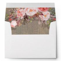 Pink Floral Rustic Wood Envelope