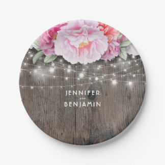 Pink Floral Rustic Wood Lights Wedding Paper Plate