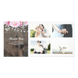 Pink Floral Rustic Wood Lights Wedding Thank You Card