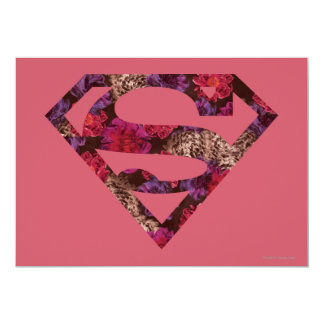 Pink Floral S-Shield 5x7 Paper Invitation Card