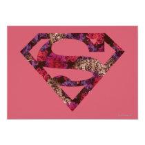 supergirl, floral s-shield, girly, cute, super hero, heroine, metropolis, superman, dc comics, Invitation with custom graphic design