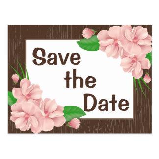 Pink Floral Save the Date Brown Wood Wedding Postcard